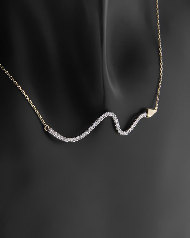 Κολιέ φίδι χρυσό Κ14 με ζιργκόν   κοσμηματα κρεμαστά κολιέ κρεμαστά κολιέ χρυσά