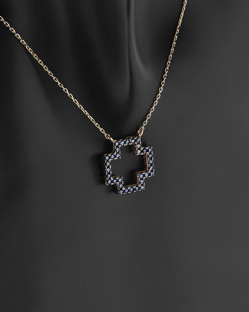Κολιέ σταυρός δύο όψεων χρυσό Κ14 με ζιργκόν   κοσμηματα κρεμαστά κολιέ κρεμαστά κολιέ χρυσά