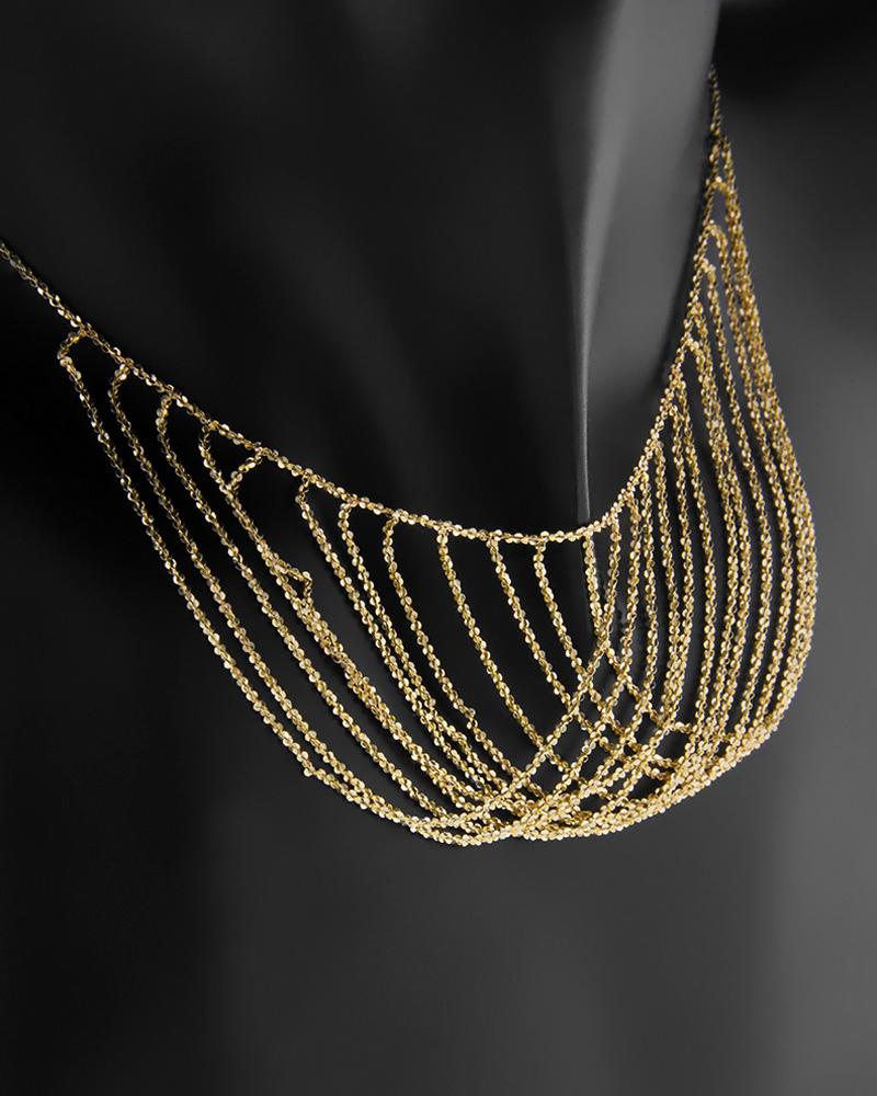 Χρυσο κολιέ Κ14 με πλεγμένες αλυσίδες   κοσμηματα κρεμαστά κολιέ κρεμαστά κολιέ χρυσά
