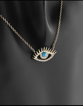 Κολιέ μάτι χρυσό Κ14 με τυρκουάζ και ζιργκόν 012d809d745