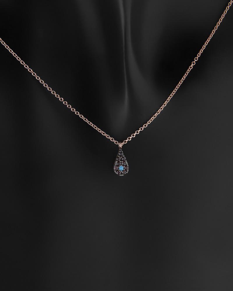 Κολιέ δάκρυ με ματάκι ροζ χρυσό Κ14 με ζιργκόν   νεεσ αφιξεισ κοσμήματα γυναικεία