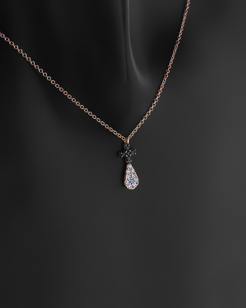 Κολιέ σταυρός και δάκρυ με ματάκι ροζ χρυσό Κ14 με ζιργκόν   νεεσ αφιξεισ κοσμήματα γυναικεία