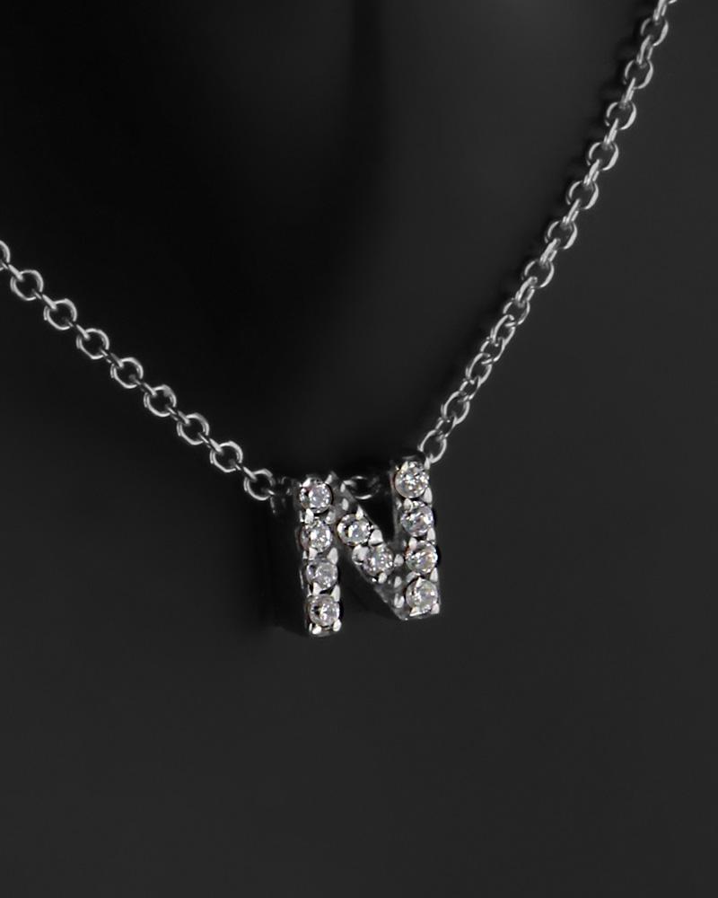 Κολιέ μονόγραμμα ''Ν'' λευκόχρυσο Κ9 με ζιργκόν