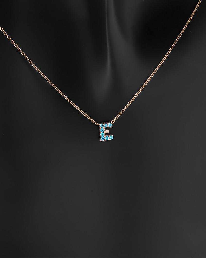 """Κολιέ μονόγραμμα """"Ε"""" ροζ χρυσό K9 με ζιργκόν   γυναικα κρεμαστά κολιέ κρεμαστά κολιέ ροζ χρυσό"""