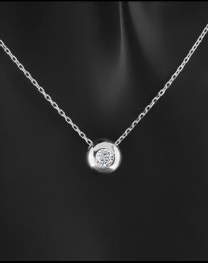 Κολιέ λευκόχρυσο Κ14 με λευκή πέτρα ζιργκόν 188a033f69d