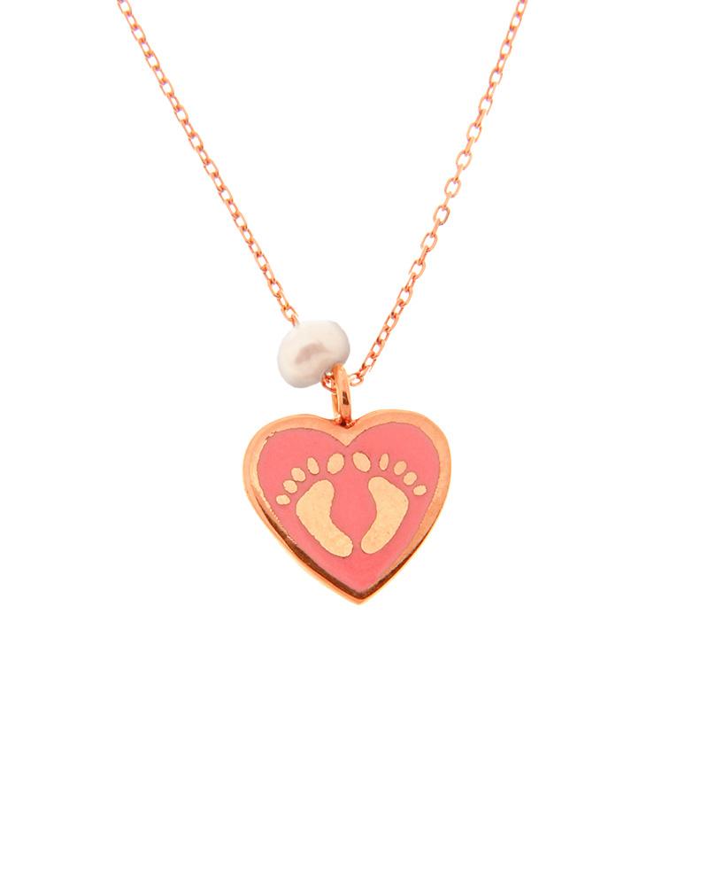 Κολιέ καρδιά με πατουσάκια ροζ χρυσό Κ14 με σμάλτο