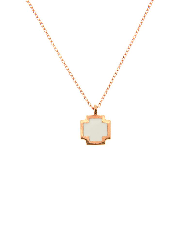 Κολιέ σταυρουδάκι ροζ χρυσό Κ14 με λευκό σμάλτο