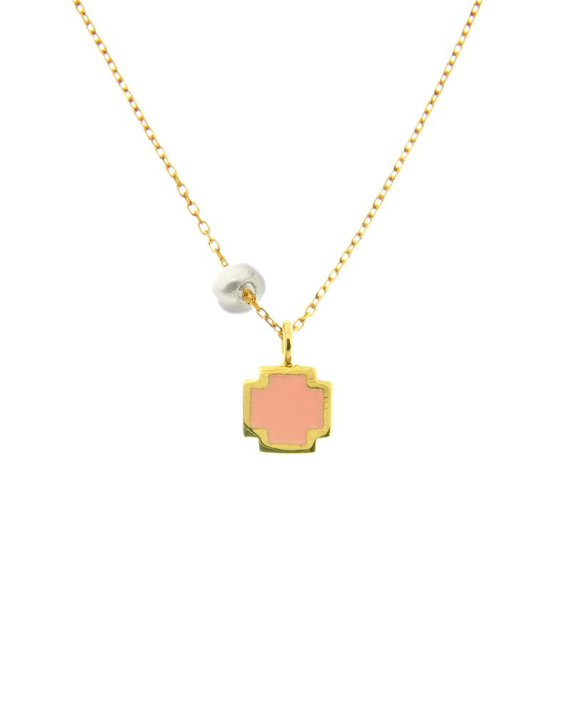 Κολιέ σταυρουδάκι χρυσό Κ14 με μαργαριτάρι και σμάλτο