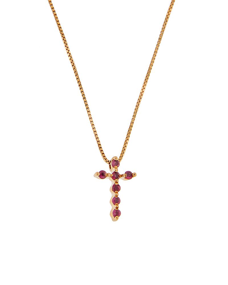 Σταυρός κολιέ ροζ χρυσός K18 με ρουμπίνια