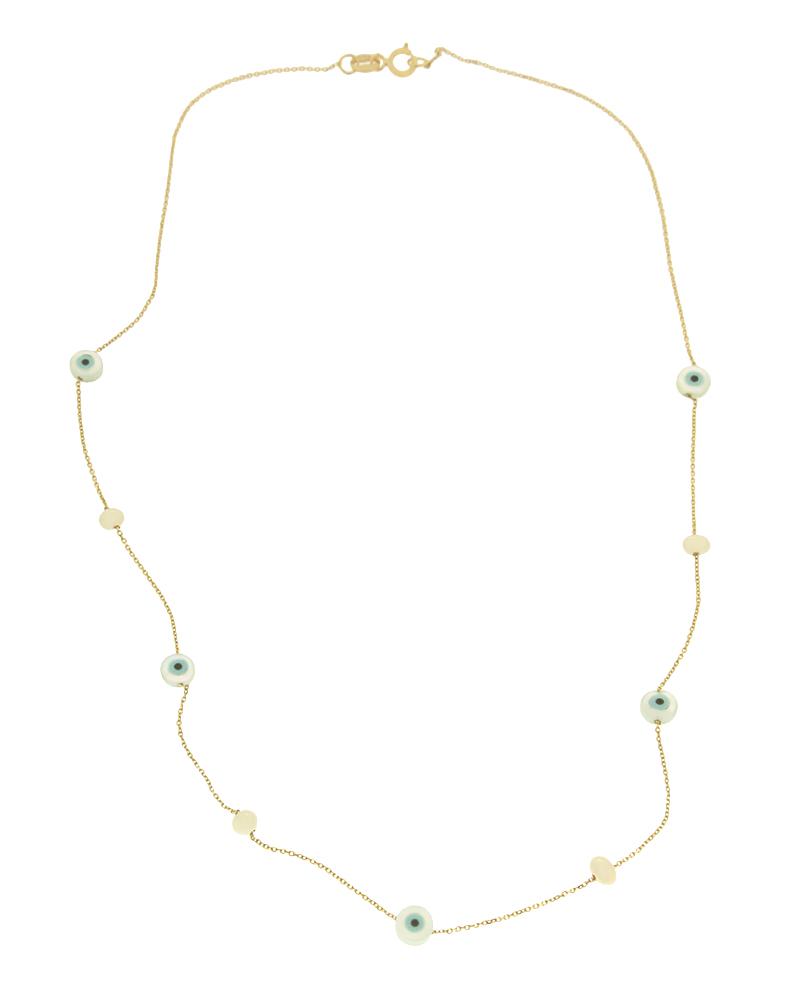 Κολιέ χρυσό Κ9 με ματάκι και μαργαριτάρια