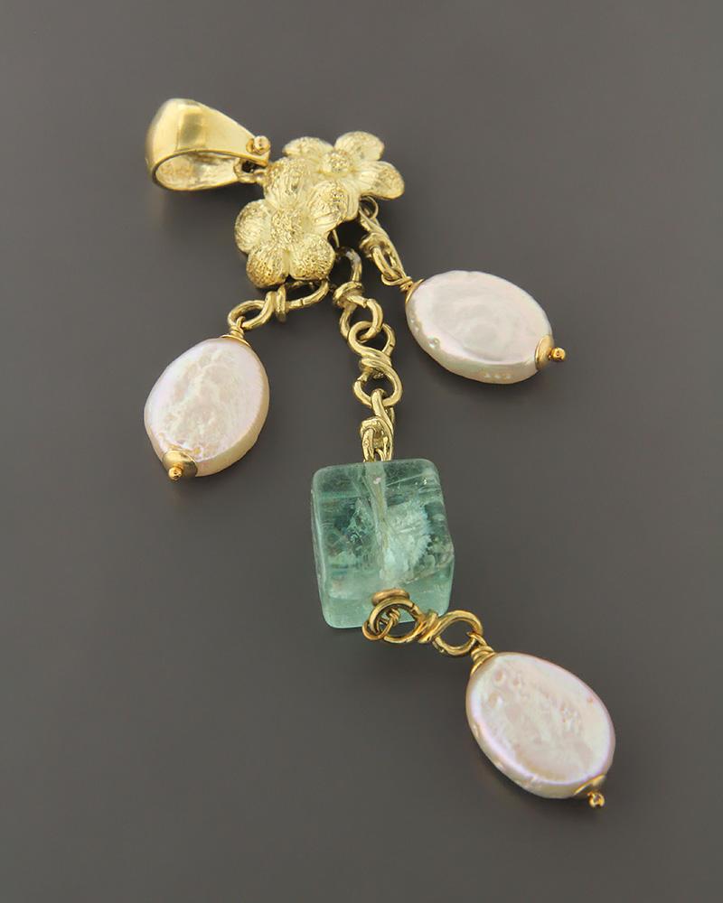 Μενταγιόν χρυσό Κ18 με φίλντισι και νεφρίτη   κοσμηματα κρεμαστά κολιέ κρεμαστά κολιέ ημιπολύτιμοι λίθοι