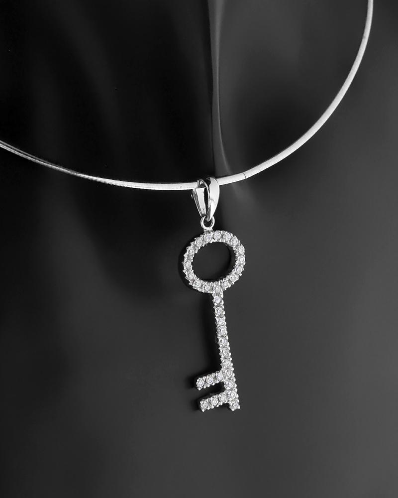 Μενταγιόν κλειδί λευκόχρυσο Κ18 με ζιργκόν   κοσμηματα κρεμαστά κολιέ κρεμαστά κολιέ fashion