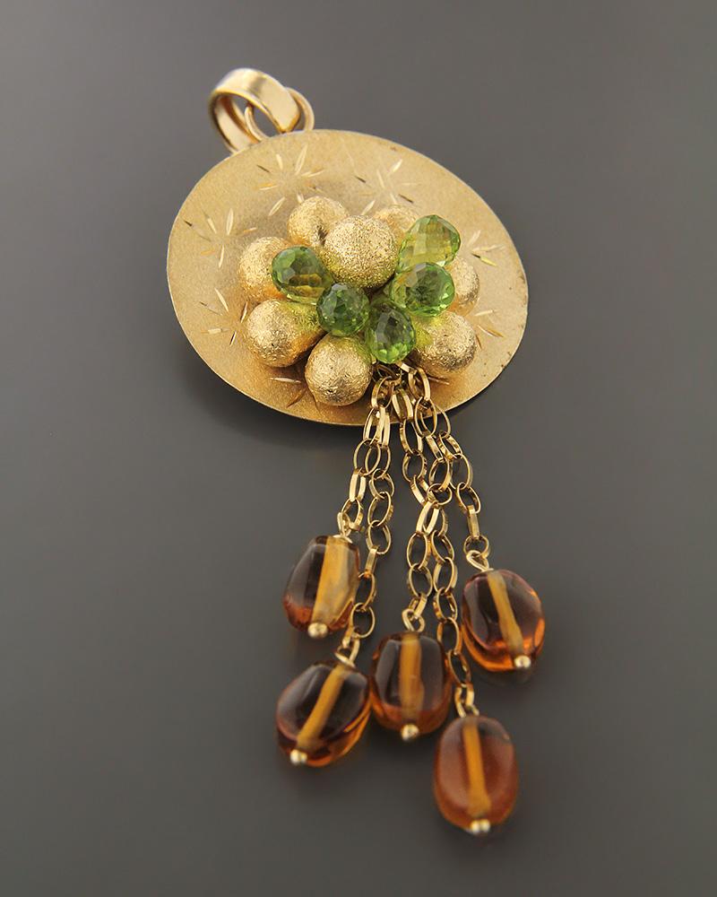 Μενταγιόν χρυσό Κ18 με μάτι της τίγρης και quartz   κοσμηματα κρεμαστά κολιέ κρεμαστά κολιέ ημιπολύτιμοι λίθοι