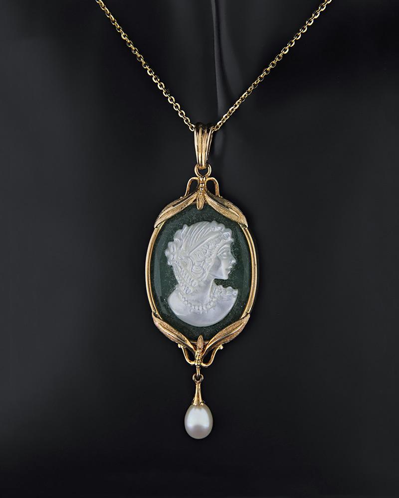 Μενταγιόν χρυσό Κ14 με καμέο και μαργαριτάρι   κοσμηματα κρεμαστά κολιέ κρεμαστά κολιέ ημιπολύτιμοι λίθοι