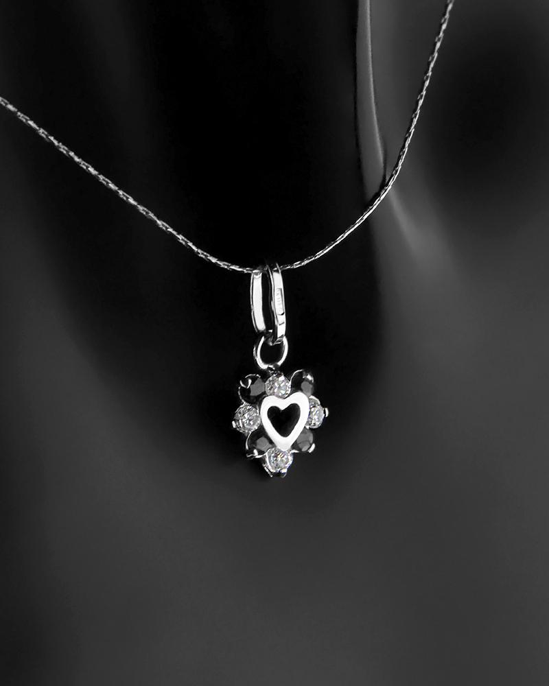 Μενταγιόν καρδιά λευκόχρυσο Κ18 με Ζιργκόν   γυναικα κοσμήματα με καρδιές