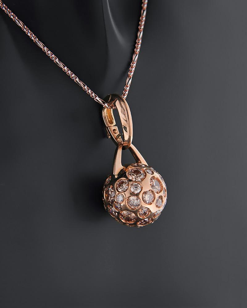 Μενταγιόν ροζ χρυσό Κ18 με ζιργκόν   κοσμηματα κρεμαστά κολιέ κρεμαστά κολιέ fashion