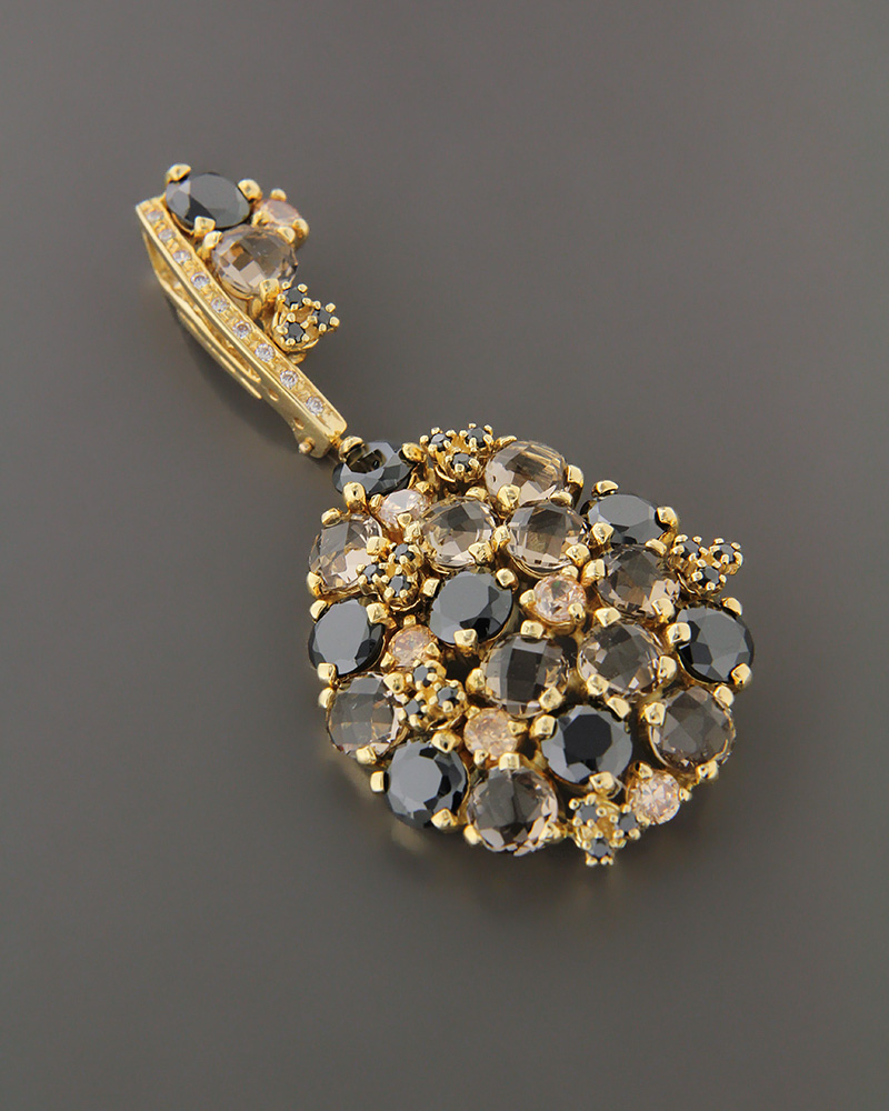 Μενταγιόν κλειδί χρυσό Κ18 με όνυχα, quartz και ζιργκόν   κοσμηματα κρεμαστά κολιέ κρεμαστά κολιέ ημιπολύτιμοι λίθοι
