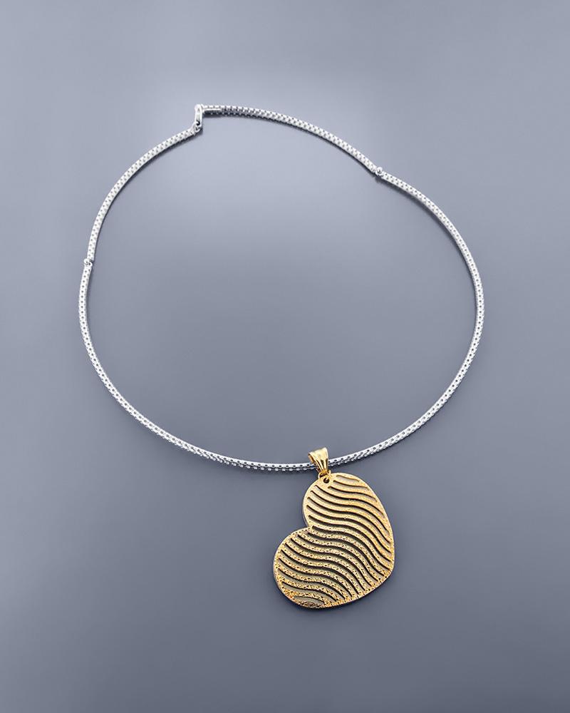 Κρεμαστό καρδιά χρυσό & λευκόχρυσο Κ14 δύο όψεων   γυναικα κρεμαστά κολιέ κρεμαστά κολιέ καρδιές