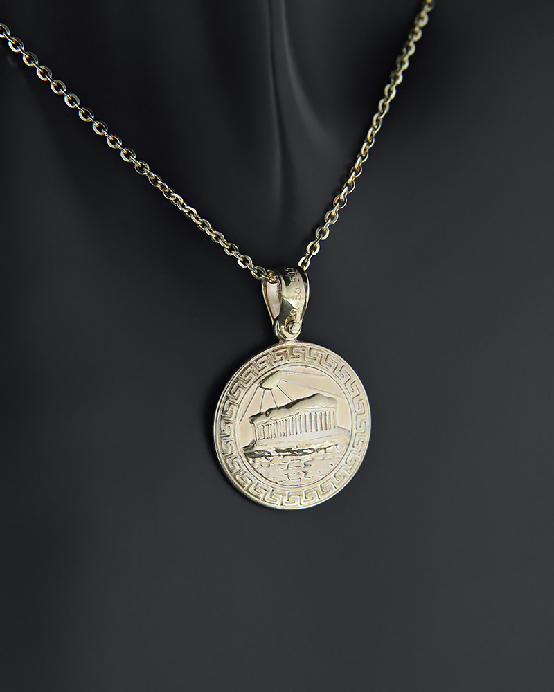 Μενταγιόν δύο όψεων από χρυσό Κ14   κοσμηματα κρεμαστά κολιέ ανδρικά κολιέ