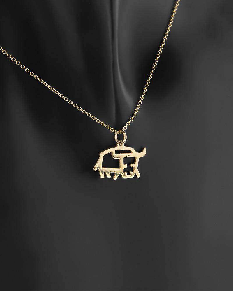 Κρεμαστό ζώδιο Ταύρος χρυσό Κ14   παιδι κρεμαστά κολιέ ζώδια