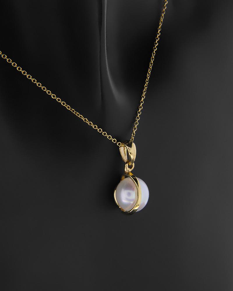 Κρεμαστό χρυσό Κ14 με μαργαριτάρι   κοσμηματα κρεμαστά κολιέ κρεμαστά κολιέ ημιπολύτιμοι λίθοι