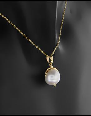 Κρεμαστό χρυσό Κ14 με μαργαριτάρι fc759014ff1