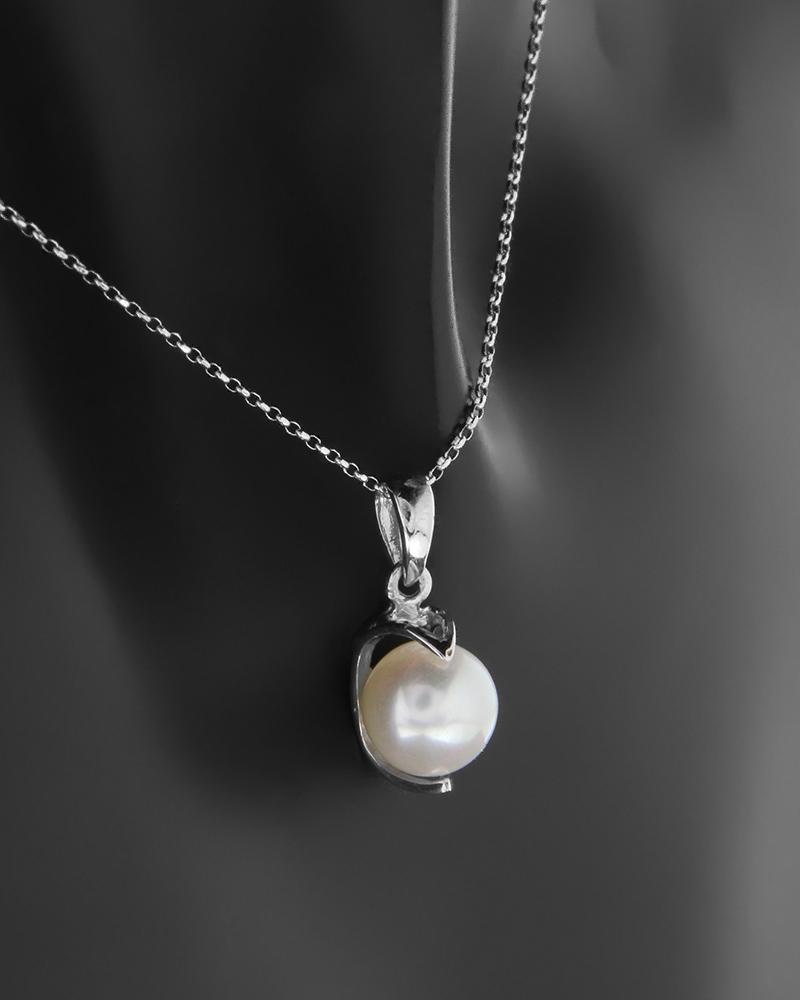 Κρεμαστό λευκόχρυσο Κ14 με μαργαριτάρι   κοσμηματα κρεμαστά κολιέ κρεμαστά κολιέ ημιπολύτιμοι λίθοι