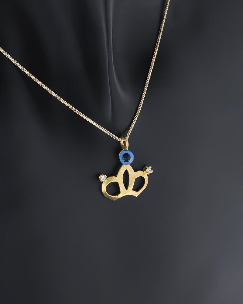 Κρεμαστό στέμμα με ματάκι χρυσό Κ14 με ζιργκόν   νεεσ αφιξεισ κοσμήματα γυναικεία