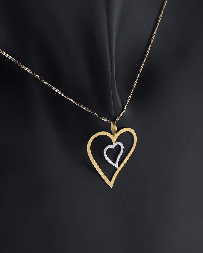 Κρεμαστό καρδιές χρυσό και λευκόχρυσο Κ14   νεεσ αφιξεισ κοσμήματα γυναικεία