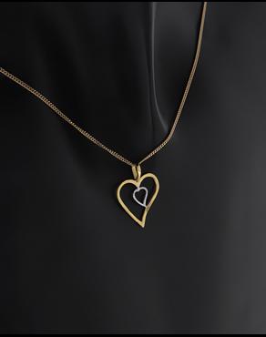 c2de358efe Κρεμαστό καρδιές χρυσό και λευκόχρυσο Κ14