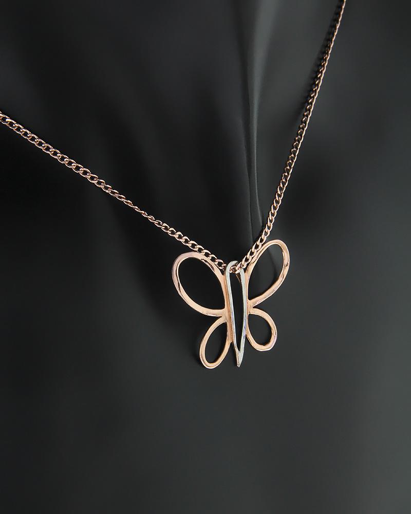 Κρεμαστό πεταλούδα ροζ χρυσό και λευκόχρυσο Κ14   νεεσ αφιξεισ κοσμήματα γυναικεία