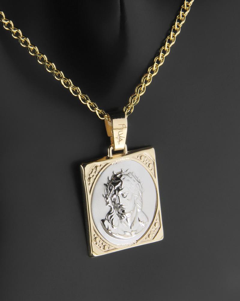 Κωνσταντινάτο φυλαχτό δύο όψεων χρυσό & λευκόχρυσο Κ14 Χριστός   παιδι κωνσταντινάτα
