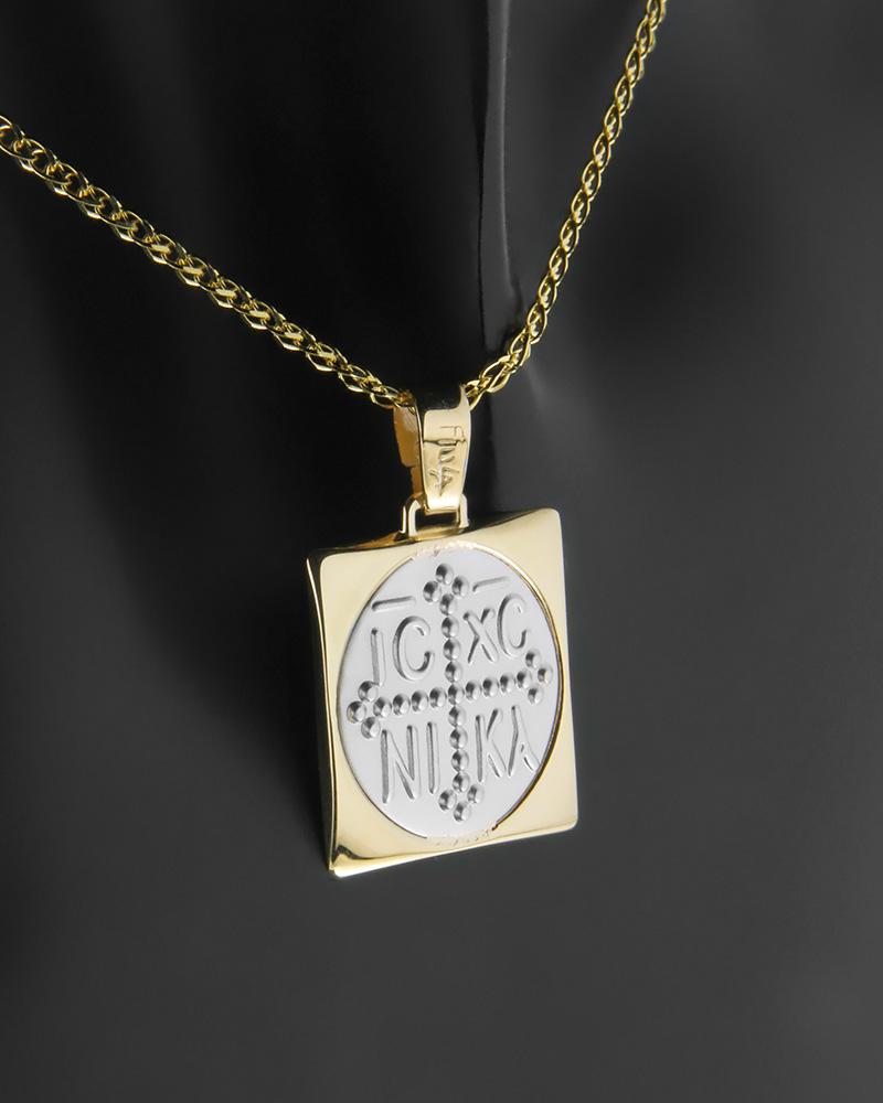 Κωνσταντινάτο φυλαχτό δύο όψεων χρυσό & λευκόχρυσο Κ14   κοσμηματα κωνσταντινάτα