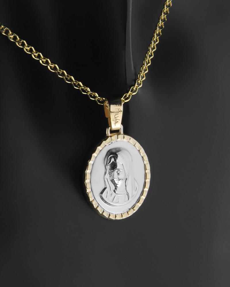 Κωνσταντινάτο φυλαχτό δύο όψεων χρυσό & λευκόχρυσο Παναγίτσα K14   κοσμηματα κωνσταντινάτα