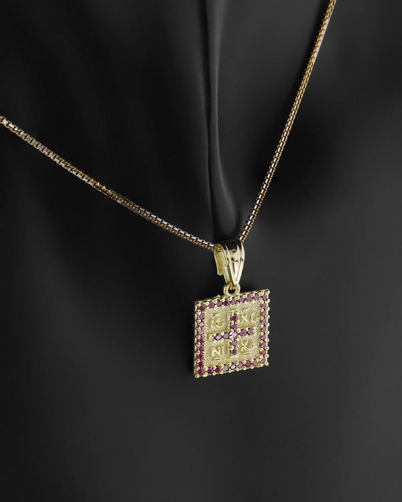 Κωνσταντινάτο φυλαχτό χρυσό Κ9 με κόκκινα ζιργκόν   νεεσ αφιξεισ κοσμήματα παιδικά