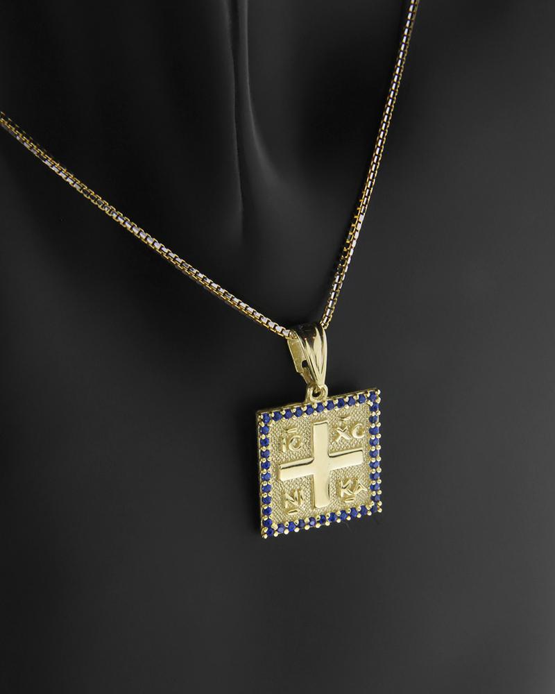 Κωνσταντινάτο φυλαχτό χρυσό Κ9 με μπλε ζιργκόν   νεεσ αφιξεισ κοσμήματα παιδικά
