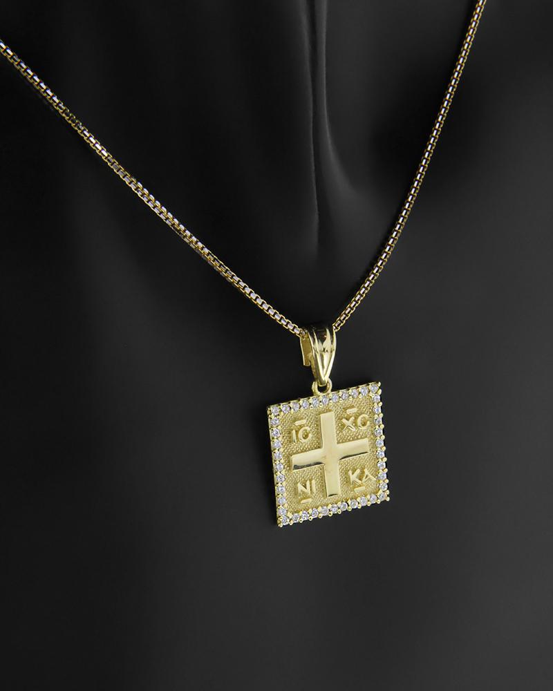 Κωνσταντινάτο φυλαχτό χρυσό Κ9 με λευκά ζιργκόν   παιδι κωνσταντινάτα
