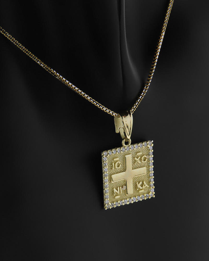 Κωνσταντινάτο φυλαχτό χρυσό Κ14 με λευκά ζιργκόν   νεεσ αφιξεισ κοσμήματα παιδικά