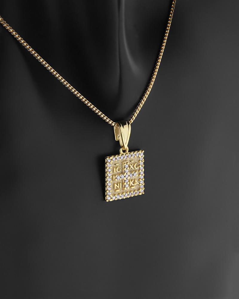 Κωνσταντινάτο φυλαχτό χρυσό Κ14 με ζιργκόν   κοσμηματα κρεμαστά κολιέ παιδικά φυλαχτά