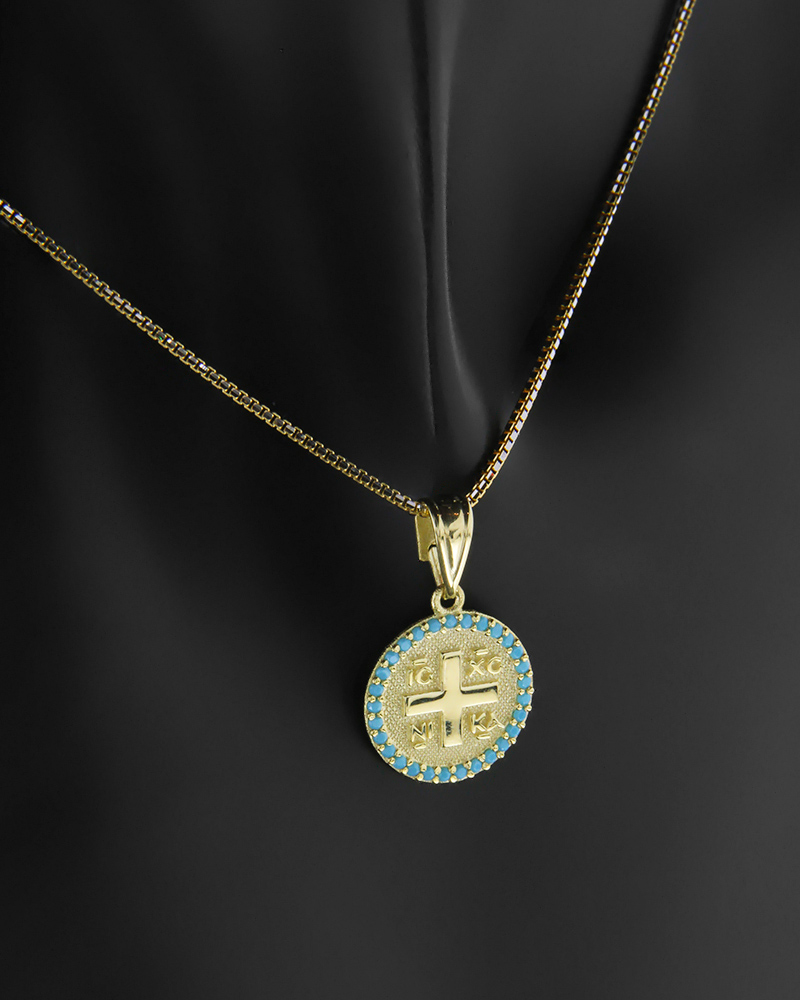 Κωνσταντινάτο φυλαχτό χρυσό Κ9 με τυρκουάζ   παιδι κωνσταντινάτα