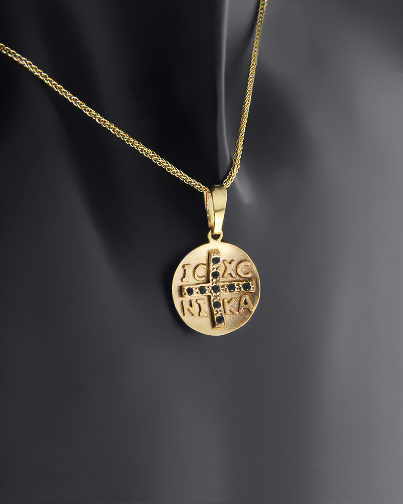 Κωνσταντινάτο φυλαχτό δύο όψεων χρυσό Κ9 με ζιργκόν   κοσμηματα κρεμαστά κολιέ παιδικά φυλαχτά