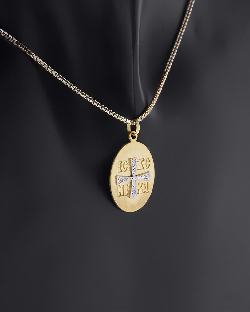 Κωνσταντινάτο φυλαχτό χρυσό και λευκόχρυσο Κ9 με ζιργκόν   νεεσ αφιξεισ κοσμήματα παιδικά