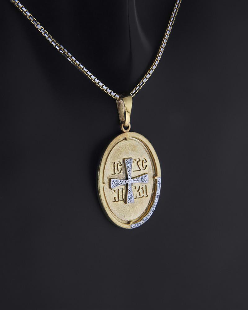 Κωνσταντινάτο φυλαχτό χρυσό και λευκόχρυσο Κ9 με ζιργκόν   παιδι κωνσταντινάτα