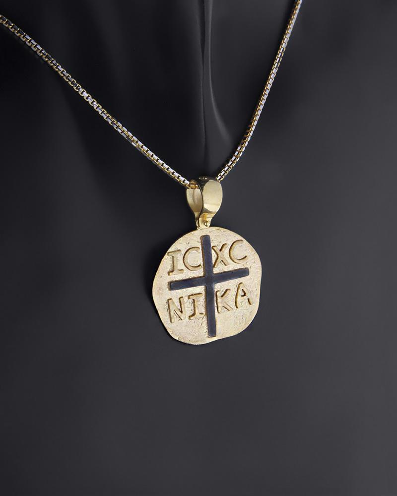 Κωνσταντινάτο φυλαχτό δύο όψεων χρυσό Κ9   κοσμηματα κρεμαστά κολιέ παιδικά φυλαχτά