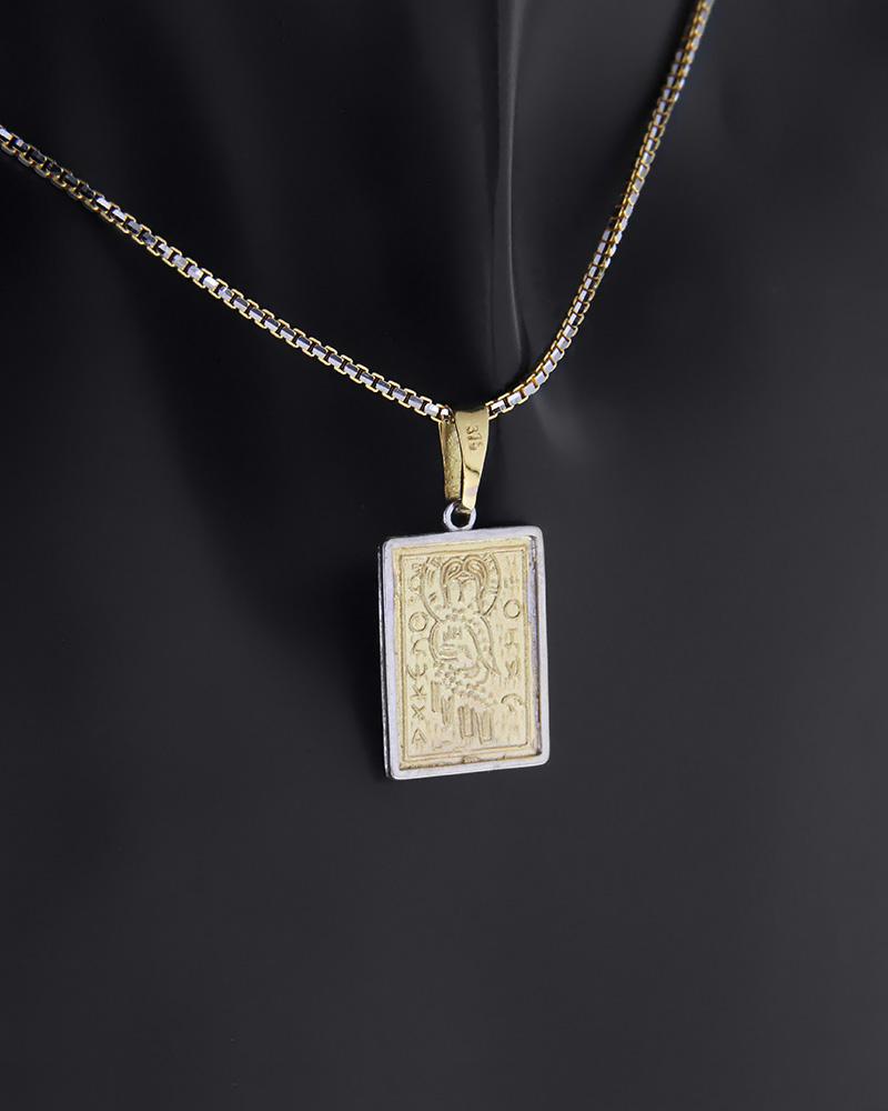 Κωνσταντινάτο φυλαχτό δύο όψεων χρυσό και λευκόχρυσο Κ9   κοσμηματα κρεμαστά κολιέ παιδικά φυλαχτά