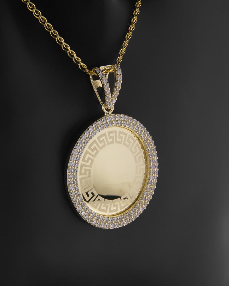 Κρεμαστό μενταγιόν χρυσό Κ14 με ζιργκόν   νεεσ αφιξεισ κοσμήματα γυναικεία