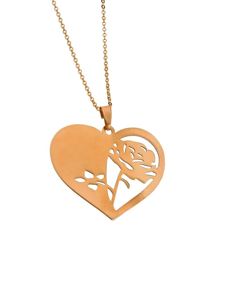 Μενταγιόν καρδιά ροζ χρυσό Κ9 -  -