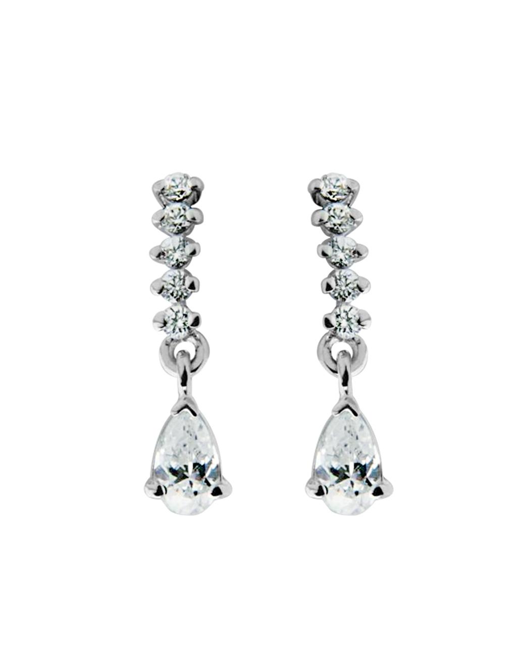 Σκουλαρίκια λευκόχρυσα Κ14 με Ζιργκόν   νεεσ αφιξεισ κοσμήματα γυναικεία