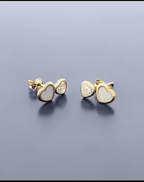 Σκουλαρίκια καρδιές χρυσά Κ9 με σμάλτο και ζιργκόν 68ee064a636