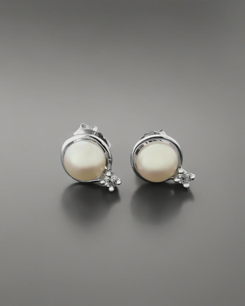 Σκουλαρίκια λευκόχρυσα Κ14 με μαργαριτάρια και ζιργκόν   γυναικα σκουλαρίκια σκουλαρίκια μαργαριτάρια